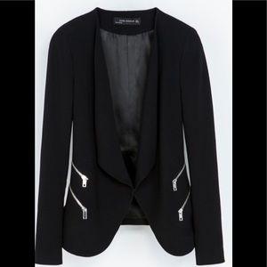 Zara structured jacket blazer with zips